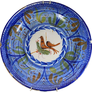 Antique Plate from Manises, signed B.A.F. with bird motif