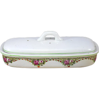 Ironstone Soap Dish with lid,  Flowers Transferware