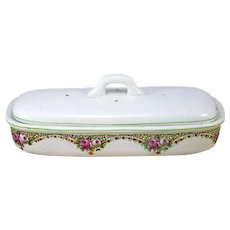 Ironstone Soap Dish with lid,  White Ironstone with Flowers Transferware