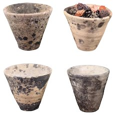 Set of 4 Vintage French Pine Resin Collector Pots, Terracotta clay pot