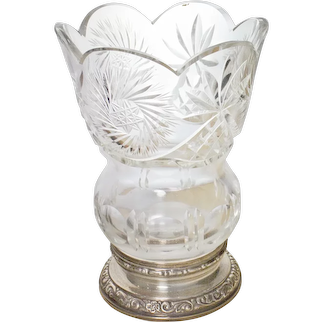 Glass Vase with Sterling Silver base, Carved and Scalloped Edge, Cut clear glass vase