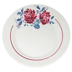 6 French Ironstone Plates with Red roses and blue transferware, Mark Badonviller France