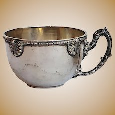 Sterling Silver Coffee Cup with Inside Porcelain. Early 20th Century