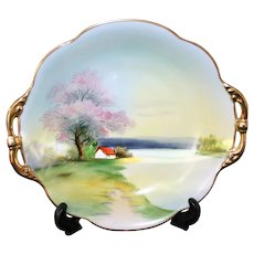 Antique Noritake Hand Painted Decorative Plate With Gold Trim, Morimura Gilt Made In Japan, 1918 (Green Mark with M)
