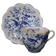 Coalport Cairo Bone China England Blue Teacup & Saucer, Cobalt Blue On Light Pink