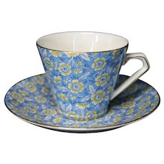 Lord Nelson Skylark Teacup & Saucer, Yellow Flowers On Bright Blue