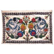 Beaded ANGELS Textile / dated 1931 / Art Deco Fabric Panel / Two CHERUBS and Flowers / Folk Art / Vintage Fiber Arts
