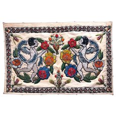 Beaded ANGELS Textile dated 1931, Fabric Panel CHERUBS and Flowers