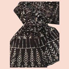Egyptian Assuit Black & Silver Shawl/ Scarf, Vintage 1920's, Textile