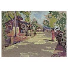 """India. Village street"" drawing from life 20 Х 30"