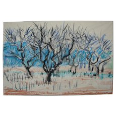 """Original drawing made by nature """"Apple orchard in early spring"""""""