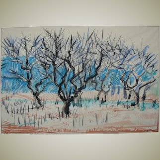 "Original drawing made by nature ""Apple orchard in early spring"""