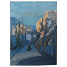 """Road in the canyon"" acrylic on cardboard. Artist Alexander Ivanov"