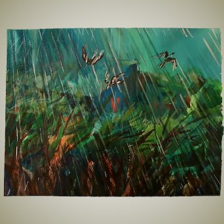"Original landscape ,gouache and pastel , ""Birds in the Rain"""
