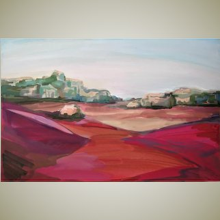 "Original watercolor on cardboard ""Red Sands of Wadi Ram"""