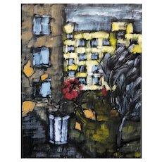 "Original oil painting ""Rose on the window"""