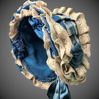 "Amazing Bonnet for a Doll Size Head 11 1/2"" by Gabriella"