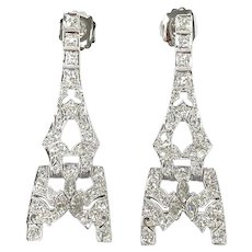 "Art Deco Vintage Platinum 2.25 ctw Old Cut Diamond ""Eiffel Tower"" Drop Earrings"