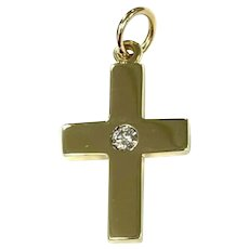 14Kt Yellow Gold & .12cts Diamond Solitaire Cross Pendant