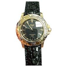 18K Gold Piaget Key Dive Black Dial Wrist Watch W/Piaget Factory Warranty