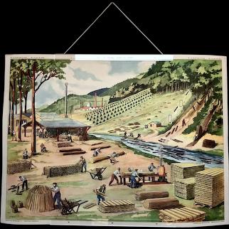 Mid-century French educational poster - Le Port de Peche / Le Travail dans la Foret