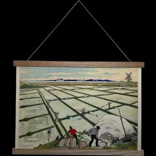 Mid-century French educational poster - Le Marais Salant / La Cote Basse a Plage et Lagune