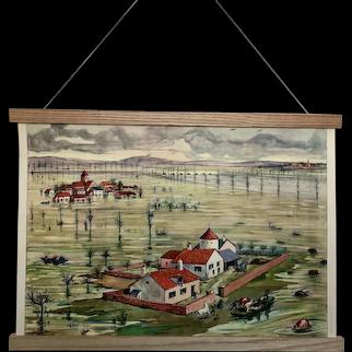 Mid-century French Educational Poster - L'Inondation / L'estuaire