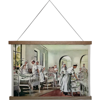 Mid-century French Educational Poster -  La Cueillette des Champignons / Un Camarade Blesse