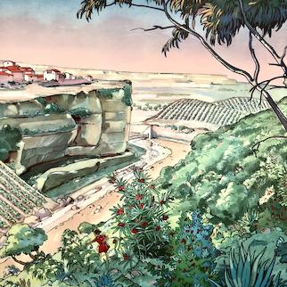 Mid-century French educational poster - La Vegetation Mediterraneenne / La Vegetation Montagne