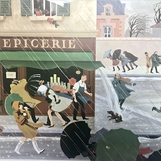French Educational Poster - Fernand Nathan's Rain Storm / Postman's Visit