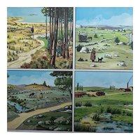 French mid-century school poster: Ranch land (Les terrains pauvres) and The Plain (La plaine)