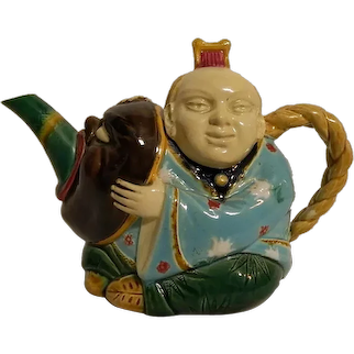 Antique Circa 1870's English Minton Majolica China Man Teapot