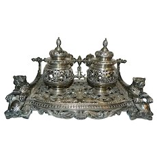 Victorian Rare 1860/70's Ornate French Double Well Inkstand
