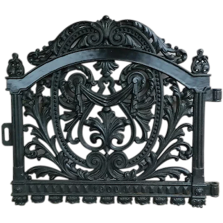 Antique 1900 Ornate Heavy Cast Iron Garden Or Cemetery Gate Stamped Pat. April 11 1900