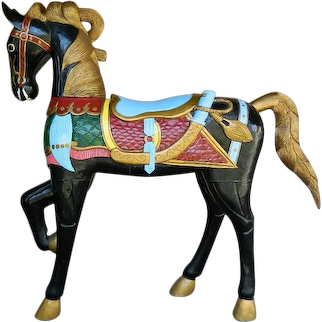 Vintage Large 1950's Hand Carved And Hand Painted Wood Carousel Horse