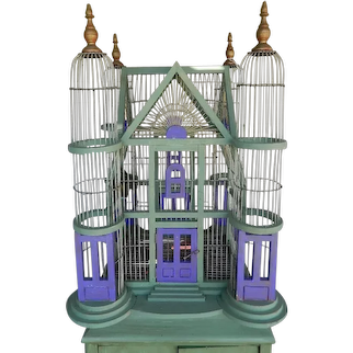 Victorian Rare Large Hand Crafted Wood and Wire 4 Turrets Bird Cage With Original Copper Feeders