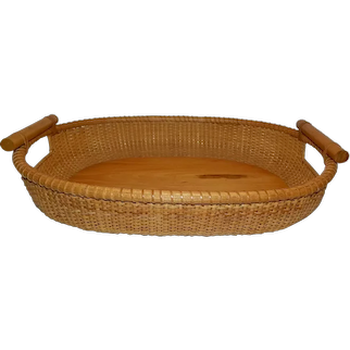 1960's Original Signed Nantucket Oval Double Handle Casserole Tray or Basket By R.L. Webber