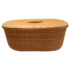 Vintage Unusual Sherry Tinney Oval Nantucket Basket With Solid Slotted Wood Cover