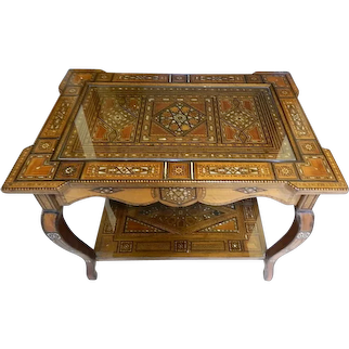 Antique 1905 Syrian Hand Crafted Parquetry And Mother Of Pearl Inlaid Table