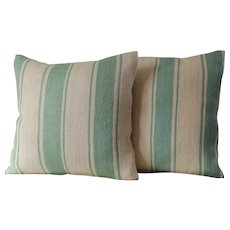 Pair of Vintage Moroccan striped pillows /Authentic Wool Pillows/ Pillows Cover-Handwoven
