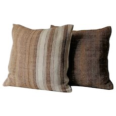 Pair of Vintage Moroccan pillows / Authentic Wool Pillows/ Pillows Cover-Handwoven