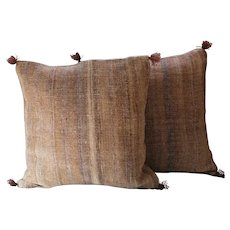 Pair of  Vintage Moroccan Pillows /Authentic Wool Pillows/ Pillows Cover-Handwoven