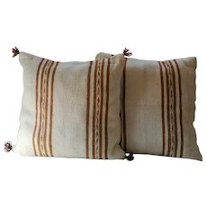 Pair of Vintage Moroccan Striped Pillows /Authentic Wool Pillows/ Decorative Pillows
