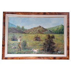 Painting, Oil Painting, Vintage Oil Landscape Painting, Dog and Snipe by Leo