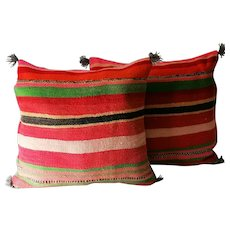 Pair of Vintage Moroccan Decor Pillows, Moroccan Traditional  Wool Pillows