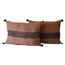 Pair of Vintage Moroccan Decor Pillows, Moroccan Traditional Pink; Black Wool Pillows