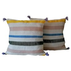 Pair of Vintage Moroccan Contemporary Wool Pillows