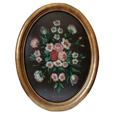 Charming Roses Framed Oil Painting, Mid Century Decor, Signed Original, Pink & Red Flowers
