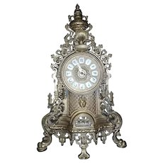 Vintage Gilt Bronze Figural Mantel Clock