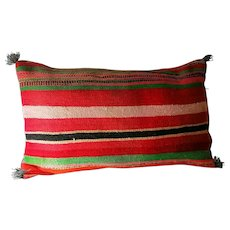 Vintage Moroccan Decor Pillow, Authentic Wool Pillow, Striped Design